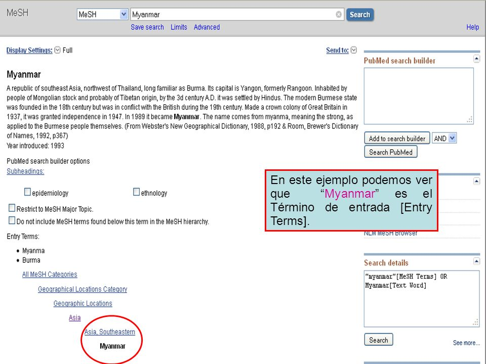 En este ejemplo podemos ver que Myanmar es el Término de entrada [Entry Terms].